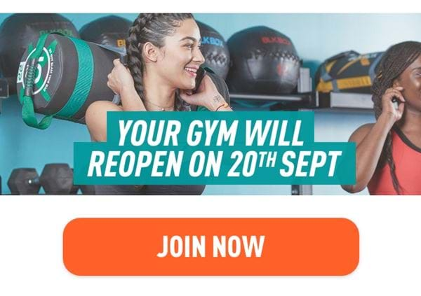 Your gym will reopen on 20th September
